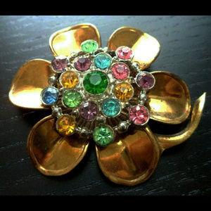 vintage multicolor rhinestone flower brooch pin